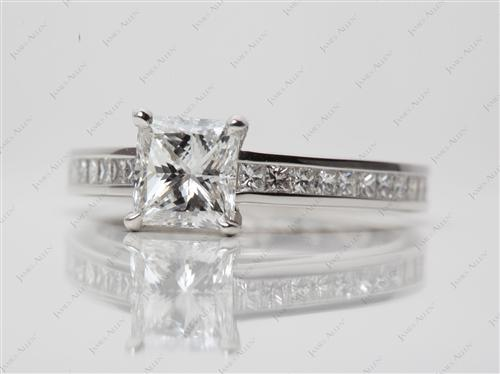 Platinum 1.05 Princess cut Channel Set Engagement Rings