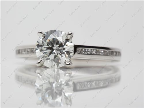 Platinum 1.43 Round cut Channel Setting Engagement Ring