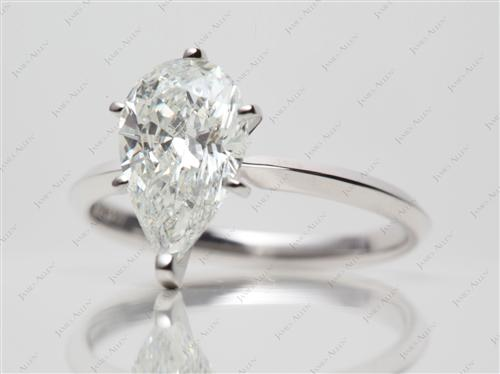 White Gold 2.02 Pear shaped Diamond Solitaire Engagement Ring