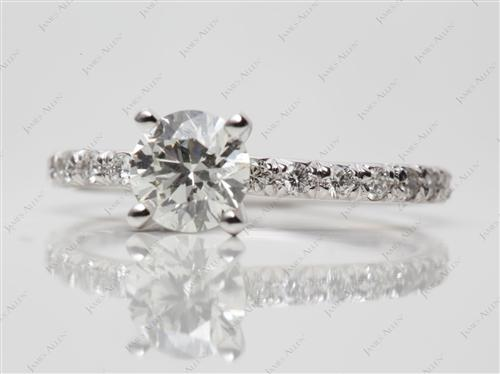 White Gold 0.77 Round cut Pave Setting Rings