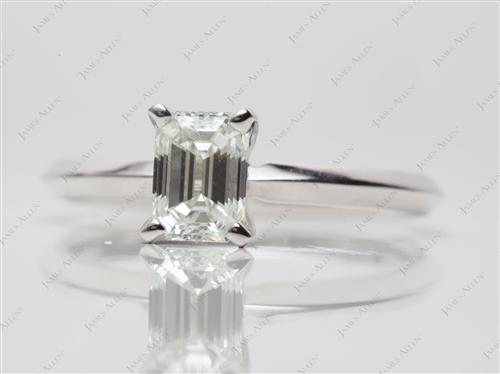 White Gold 0.76 Emerald cut Solitaire Rings