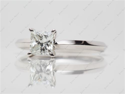 White Gold 0.65 Princess cut Diamond Solitaire Engagement Ring