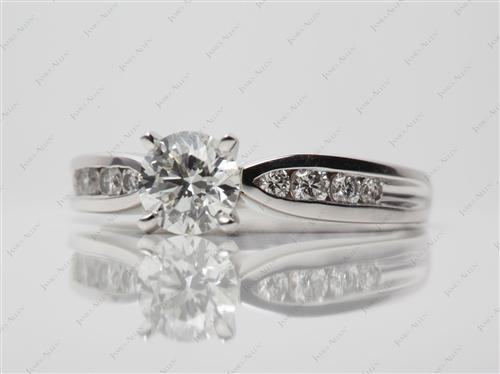 White Gold 0.80 Round cut Diamond Channel Ring