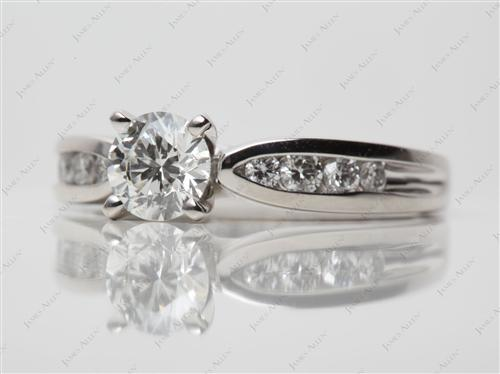 Platinum 0.71 Round cut Channel Set Diamond Engagement Rings