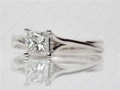 Platinum 0.72 Princess cut Engagement Rings
