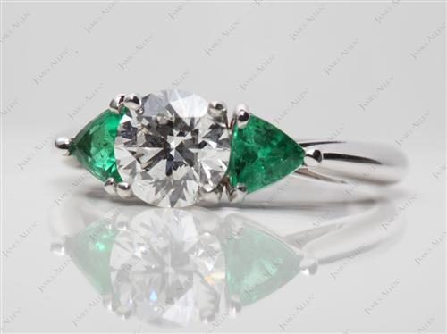 White Gold 1.08 Round cut Colored Stone Rings