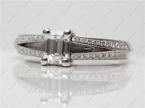 Gold 0.76 Emerald cut Pave Diamond Rings