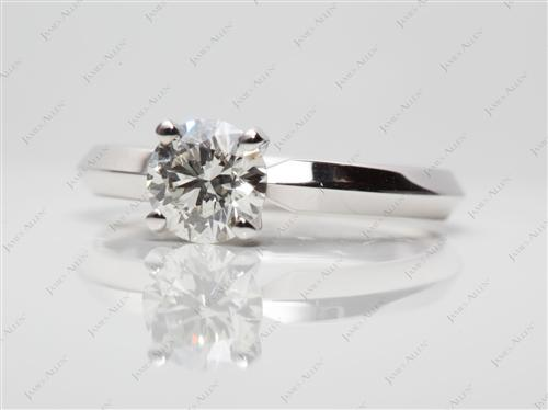 White Gold 0.80 Round cut Diamond Engagement Solitaire Rings