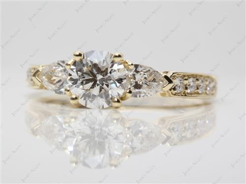 Gold 0.90 Round cut Three Stones Ring