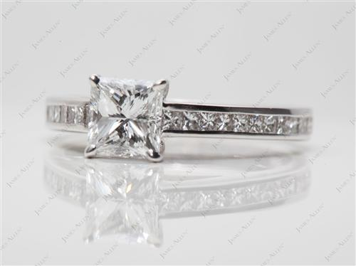 White Gold 1.02 Princess cut Channel Ring