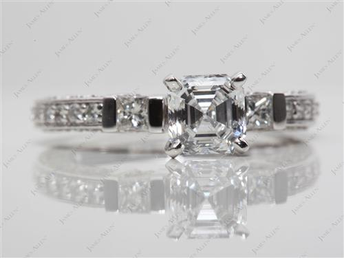 Platinum 1.01 Asscher cut Pave Diamond Ring