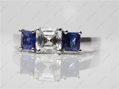 White Gold 1.01 Asscher cut Colored Gemstone Rings