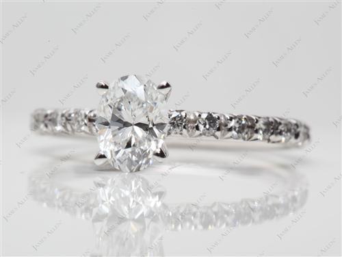 White Gold 0.80 Oval cut Pave Diamond Rings
