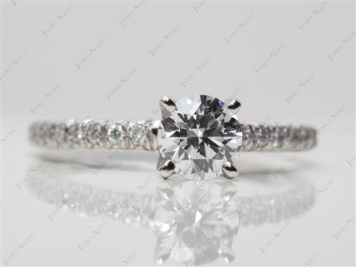 Platinum 0.60 Round cut Pave Engagement Ring