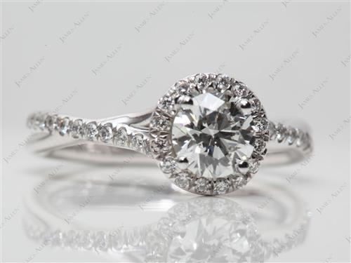 White Gold 0.62 Round cut Pave Setting Rings