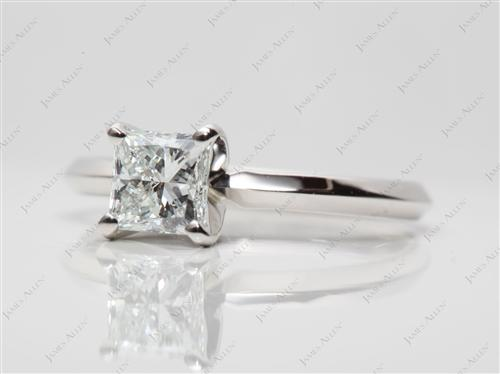 Platinum 0.73 Princess cut Diamond Solitaire Rings