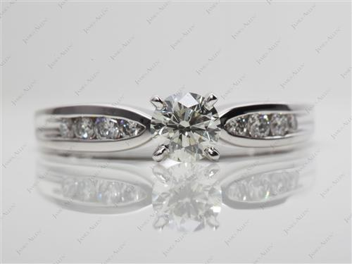 White Gold 0.70 Round cut Channel Set Diamond Engagement Ring