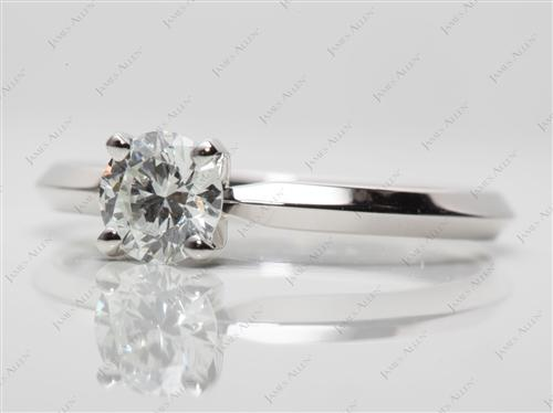 Platinum 0.62 Round cut Solitaire Diamond Ring