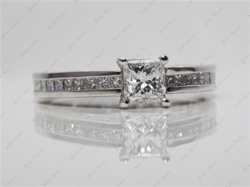 Platinum 0.53 Princess cut Channel Engagement Rings