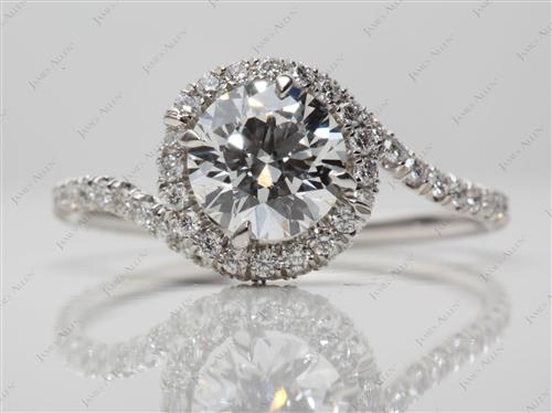 Platinum 1.20 Round cut Micro Pave Diamond Rings