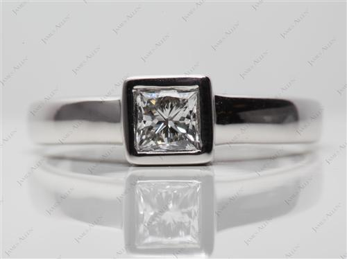 White Gold 0.60 Princess cut Tension Setting Engagement Rings