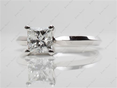 White Gold 0.91 Princess cut Solitaire Diamond Rings