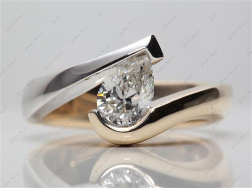 White Gold 1.01 Pear shaped Tension Set Rings