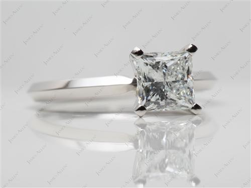 Platinum 1.20 Princess cut Solitaire Diamond Rings