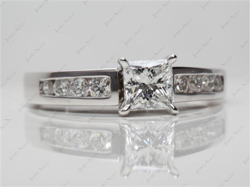 White Gold 0.73 Princess cut Channel Setting Engagement Rings
