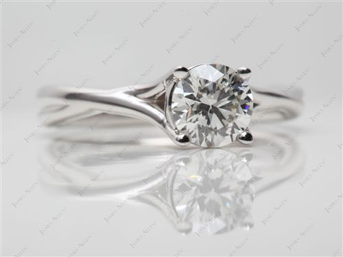 White Gold 0.91 Round cut Solitaire Ring Setting