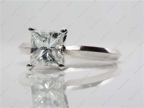 Platinum 1.20 Princess cut Round Solitaire Ring