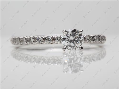 White Gold 0.46 Round cut Pave Setting Rings