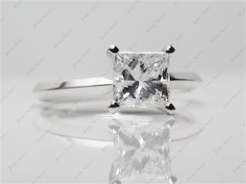 White Gold 1.21 Princess cut Diamond Solitaire Rings