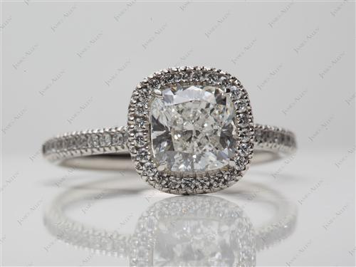 Platinum 1.85 Cushion cut Pave Diamond Ring