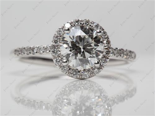 White Gold 1.20 Round cut Diamond Rings
