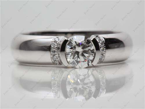 White Gold 0.70 Round cut Engagement Ring Micro Pave