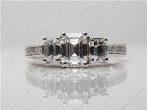 Platinum 0.76 Emerald cut Three Stones Rings