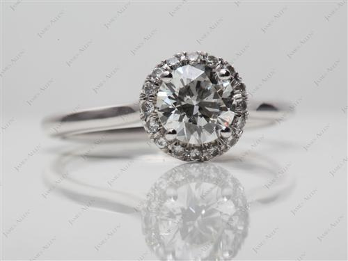 White Gold 0.75 Round cut Pave Ring Settings