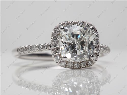 White Gold 2.03 Cushion cut Pave Engagement Ring