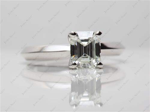 Platinum 1.03 Emerald cut Diamond Solitaire Rings