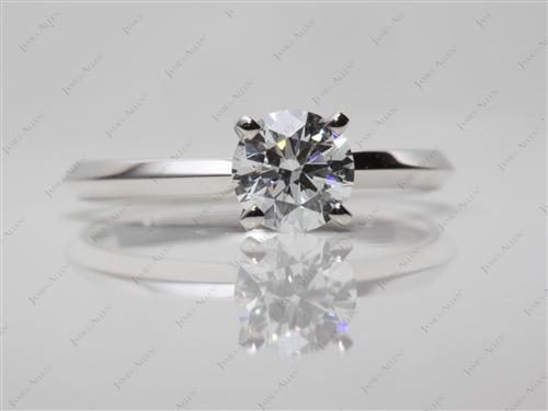 White Gold 0.70 Round cut Engagement Rings