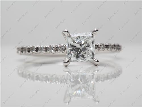 White Gold 1.00 Princess cut Micro Pave Engagement Rings