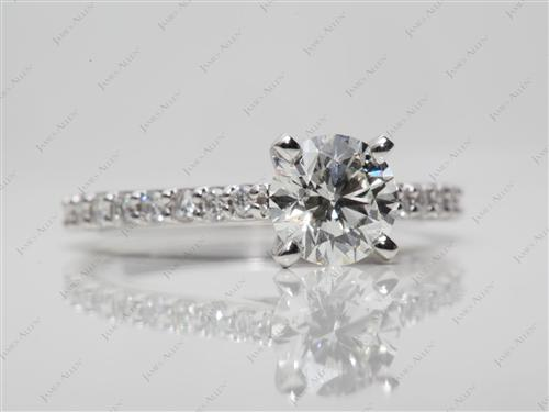 White Gold 0.90 Round cut Engagement Ring Side Stones