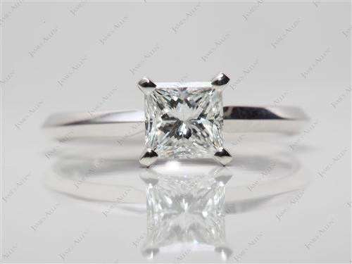 White Gold 0.76 Princess cut Diamond Solitaire Engagement Ring