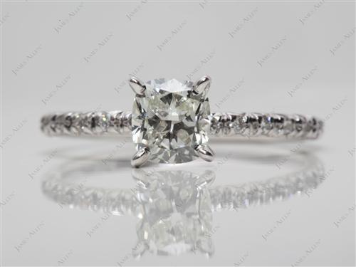 White Gold 0.73 Cushion cut Pave Diamond Engagement Rings
