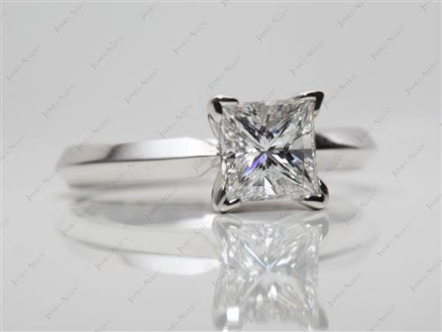 White Gold 1.02 Princess cut Solitaire Engagement Rings