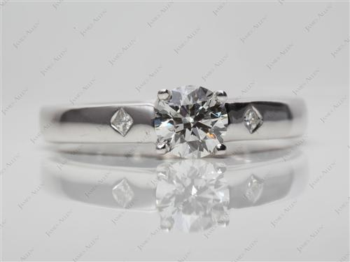 White Gold 0.60 Round cut Solitaire Diamond Rings