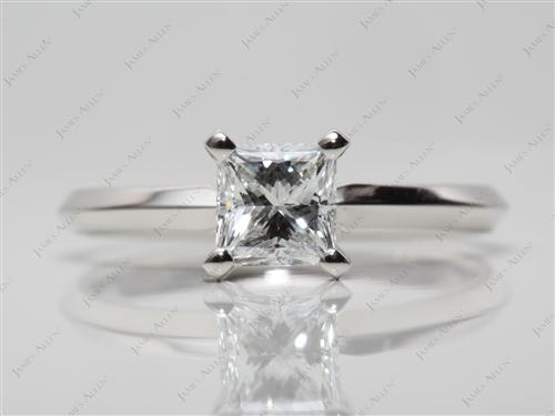 Platinum 0.73 Princess cut Solitaire Ring