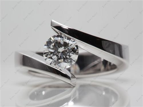 White Gold 1.00 Round cut Tension Set Engagement Ring