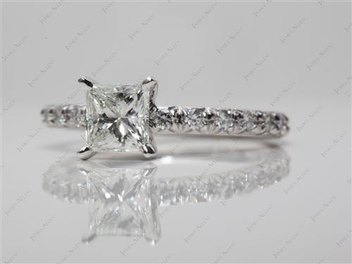 Platinum 0.73 Princess cut Diamond Pave Rings